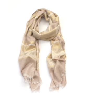 Gold and White Scarf with Metallic Accents