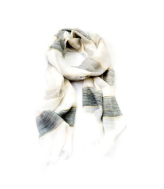 Black and White Stripe Scarf with Metallic Accents
