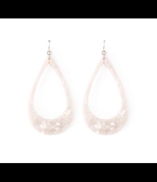 White  Acrylic Teardrop Earrings