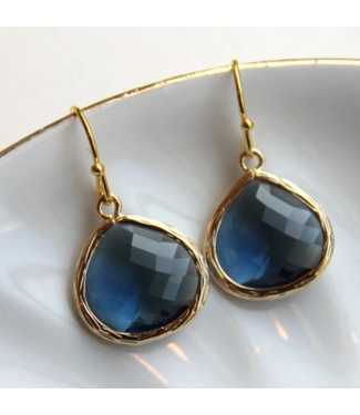 Laalee Jewelry Large Sapphire Gold Plated Earrings