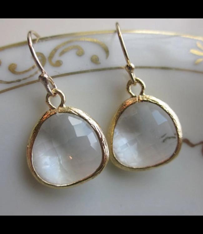Laalee Jewelry Gold Clear Crystal Earrings