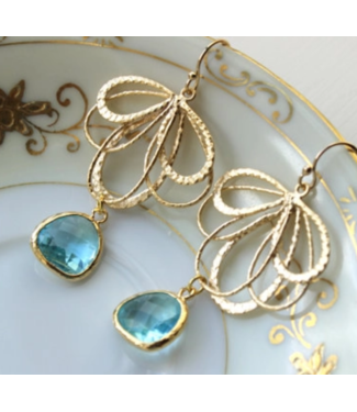 Laalee Jewelry Aquamarine Earrings Gold Feather