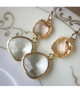 Laalee Jewelry Champagne Peach Earrings Crystal