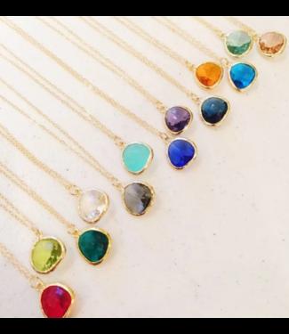 Laalee Jewelry Teardrop Gold Necklace - Crystal Clear