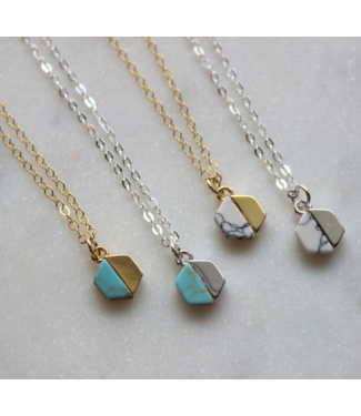 Laalee Jewelry Howlite Hexagon Necklace- Turquoise / Gold