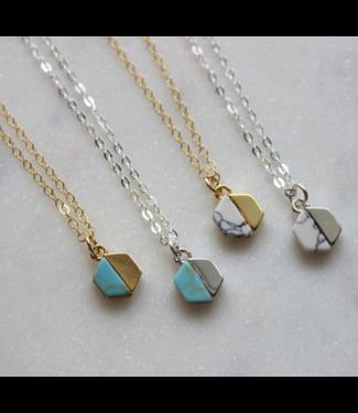 Laalee Jewelry Howlite Hexagon Necklace- White / Gold