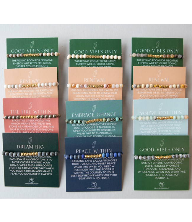 Lenny & Eva 6mm Gemstone Bracelets with Story Card