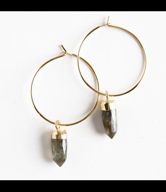 Lenny & Eva Labradorite Stone Point Earrings