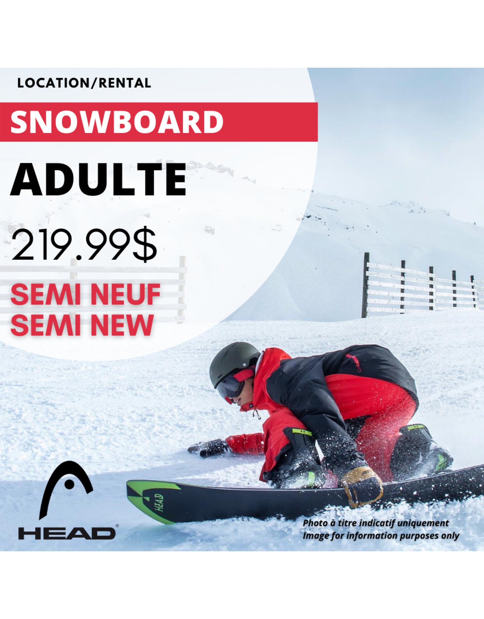 LOCATION ÉQUIPEMENT SNOWBOARD ADULTE SEMI-NEUF