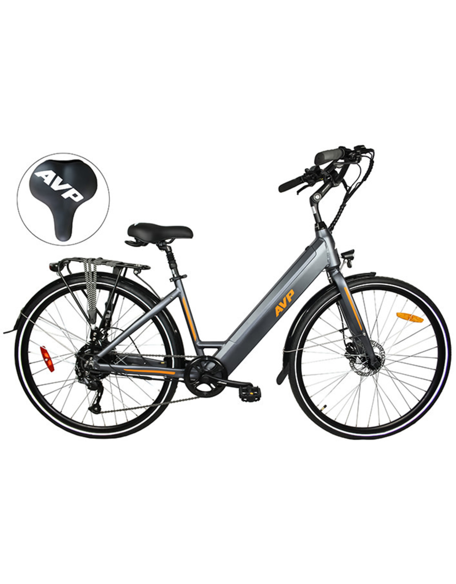 AVP AVP E- LOW STEP CHARCOAL MA/ORANGE MAT VÉLO ÉLECTRIQUE