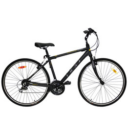 DCO DCO DOWNTOWN 703 BLACK-CHARCOAL-YELLOW 21 HYBRID BIKE