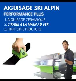 Aiguisage skis alpins adulte avec structure, cirage au fer