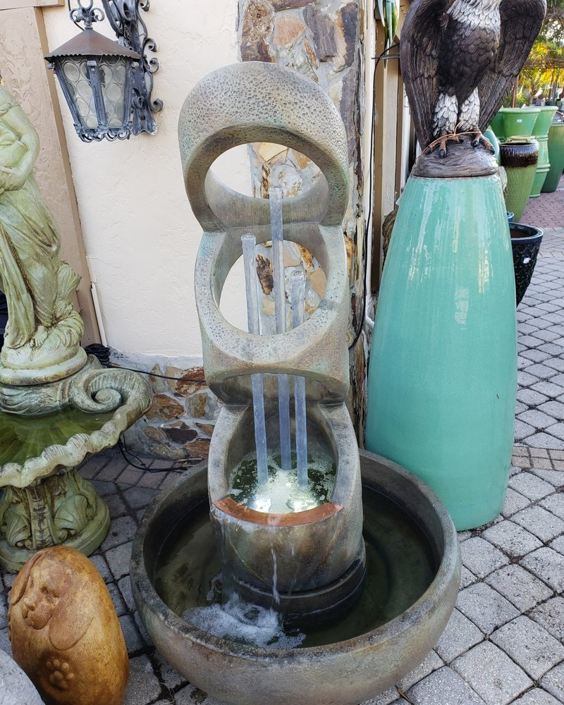 CARVED & CAST STONE FOUNTAINS BALANCING RINGS FOUNTAIN