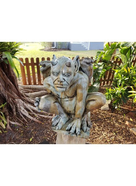 CARVED & CAST STONE SCULPTURE BENEDICT GARGOYLE