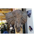 CARVED & CAST STONE SCULPTURE ELEPHANT WALL PLAQUE