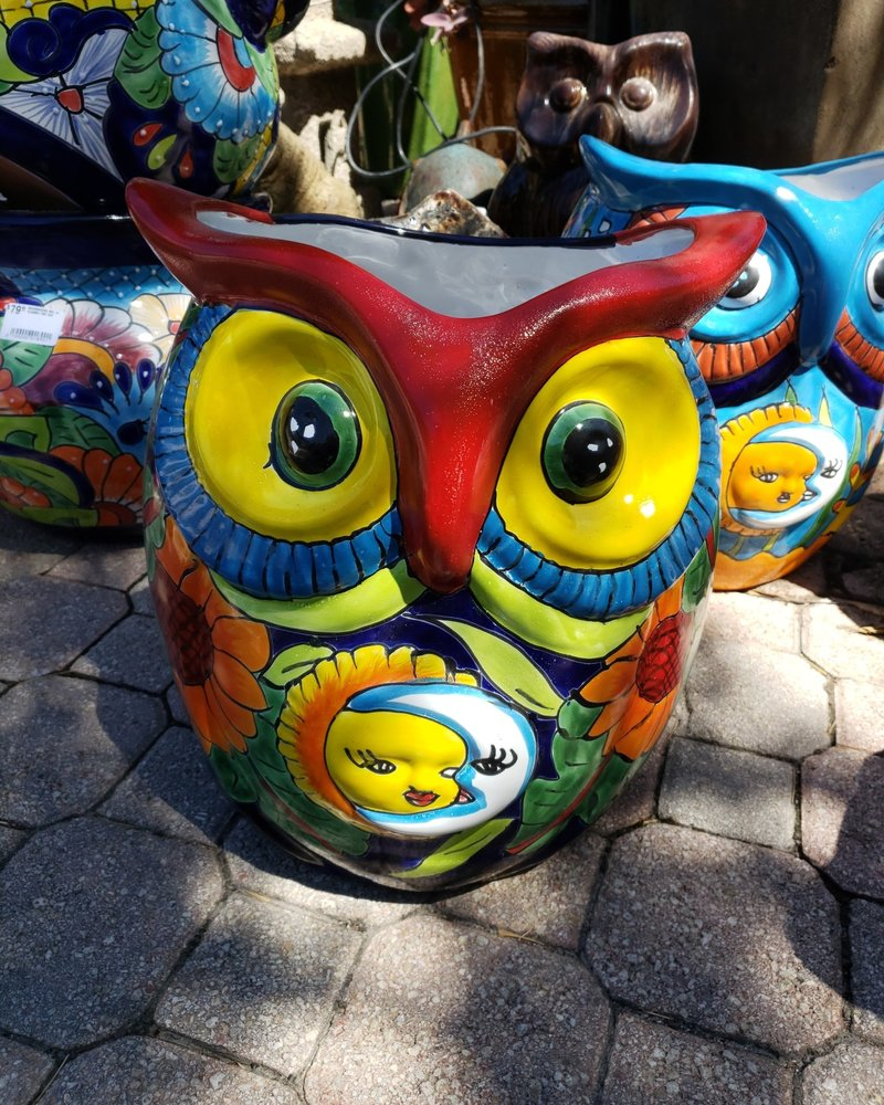 TALAVERA OWL PLANTER LG