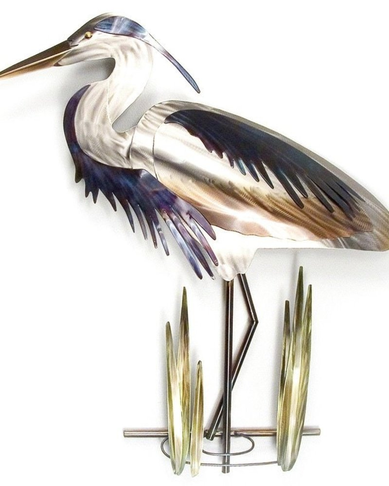 WALL ART BLUE HERON HEAD DOWN