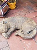 CARVED & CAST STONE SCULPTURE Sleeping Cat Pnt