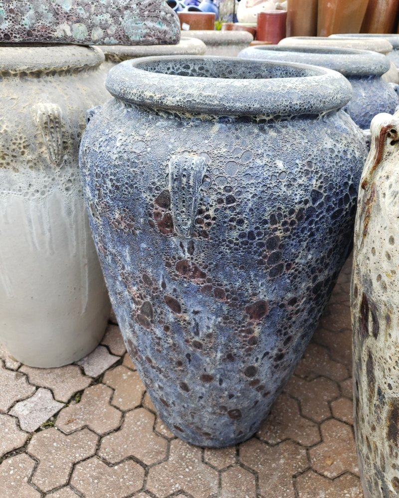 HIGH FIRED CERAMIC LAVA 4 HANDLE JAR 39