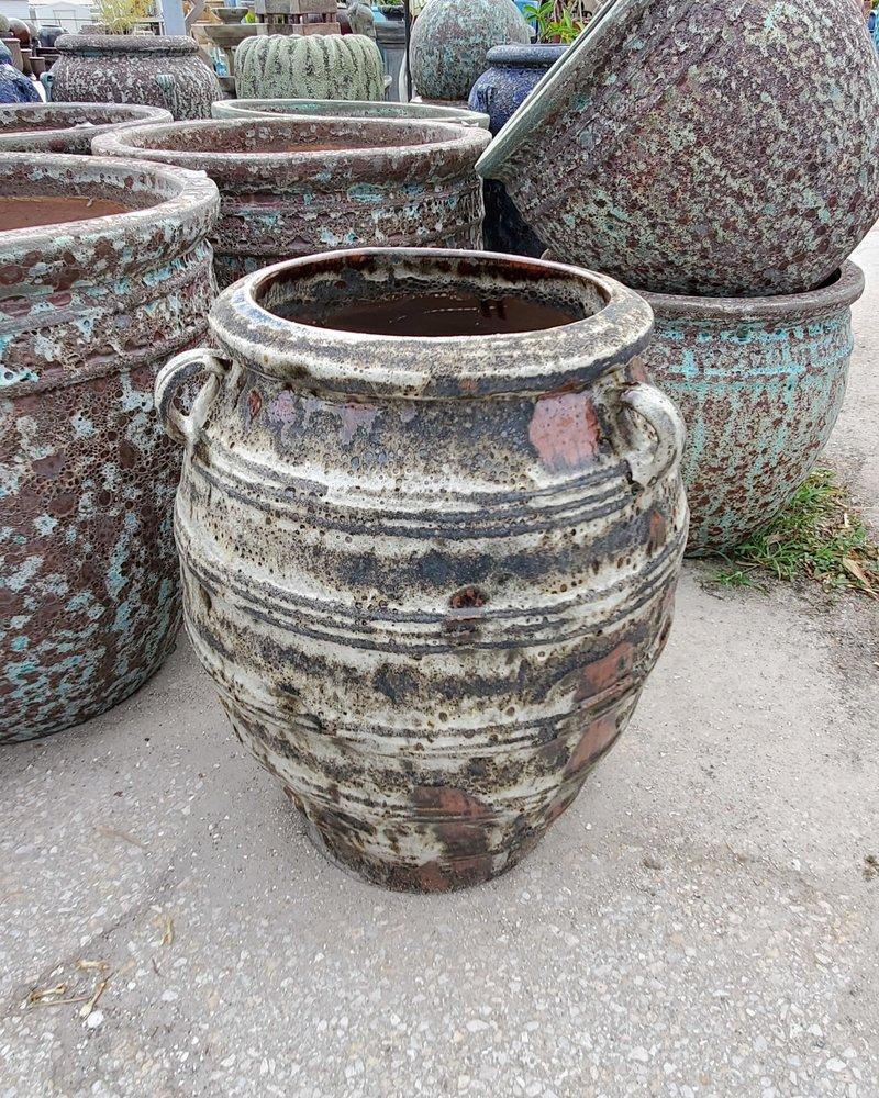 HIGH FIRED CERAMIC LAVA GRECIAN JAR