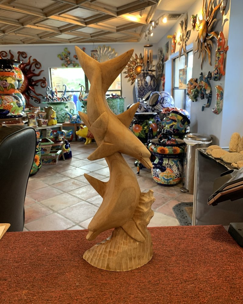 CARVED WOOD CARVED WOOD DOLPHINS