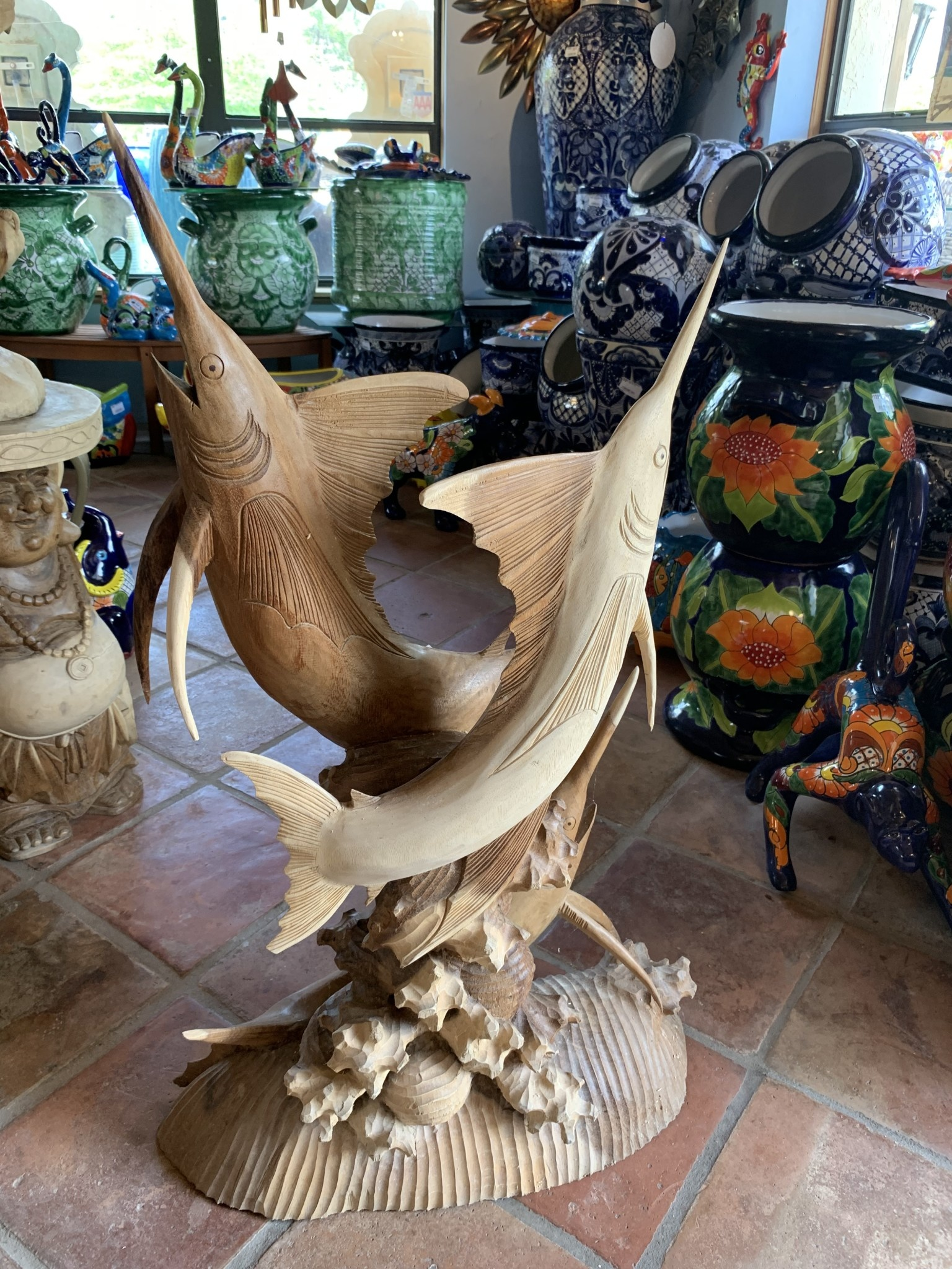 Carved Wood Marlin Pottery As Art
