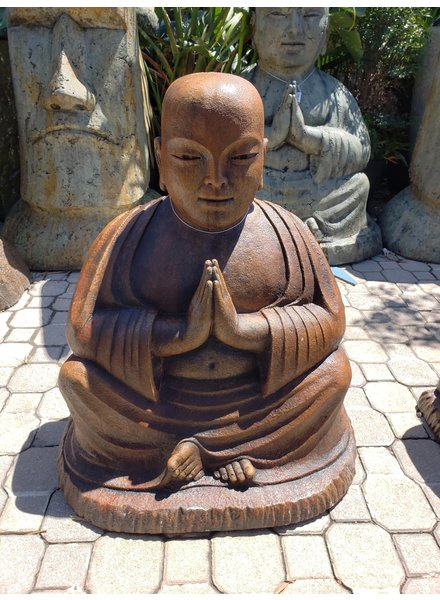 CARVED & CAST STONE SCULPTURE NAMASTE TEMPLE BUDDHA