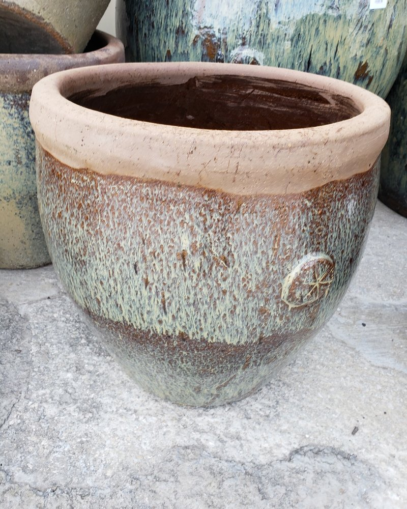 HIGH FIRED CERAMIC 6 POINT RUSTIC PLANTER MD