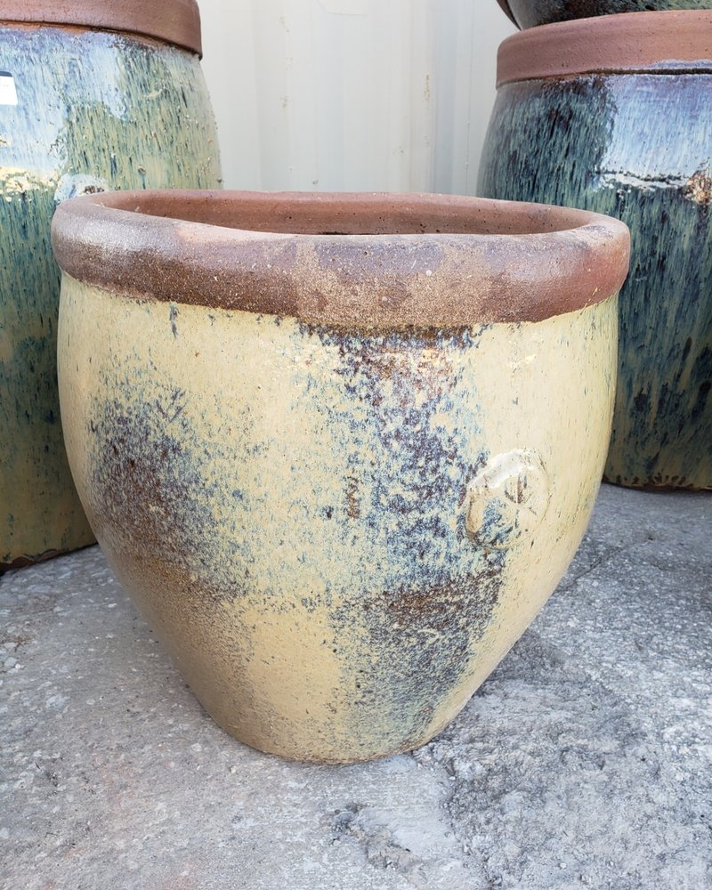 HIGH FIRED CERAMIC 6 POINT RUSTIC PLANTER SM
