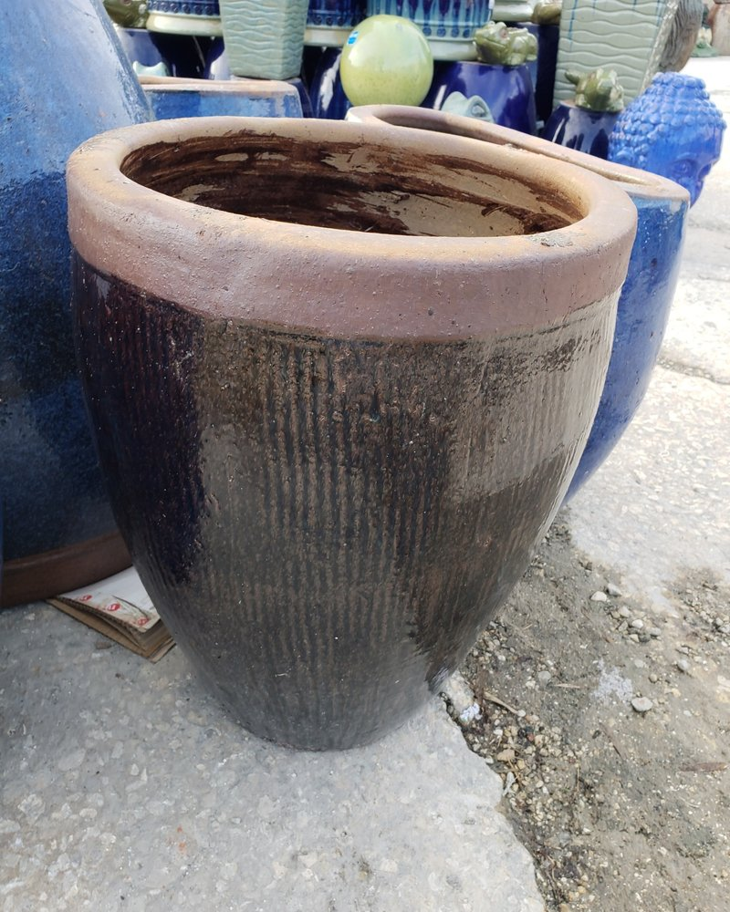 HIGH FIRED CERAMIC TAPERED ROUND RUSTIC SM