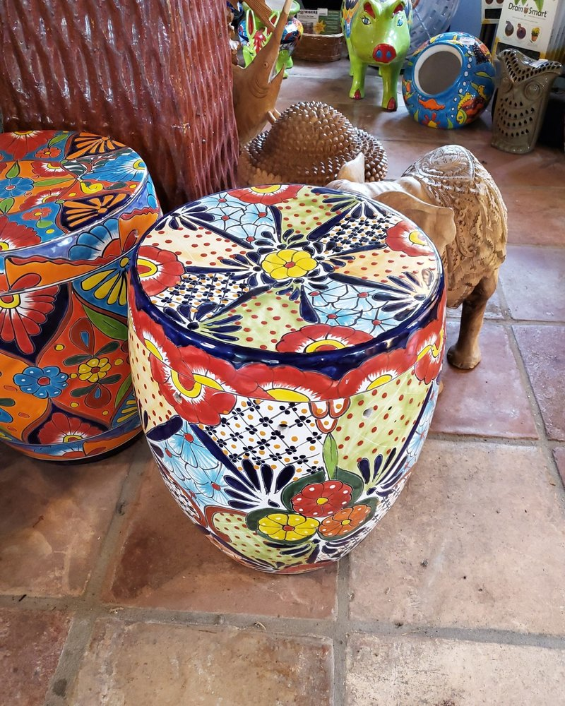 HIGH FIRED CERAMIC TALAVERA STOOL