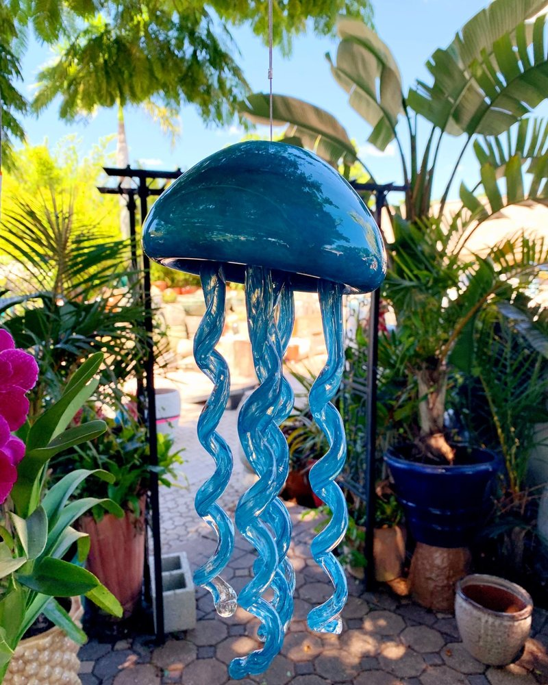 GARDEN ART & ACCESSORIES HANGING GLASS JELLY FISH LG