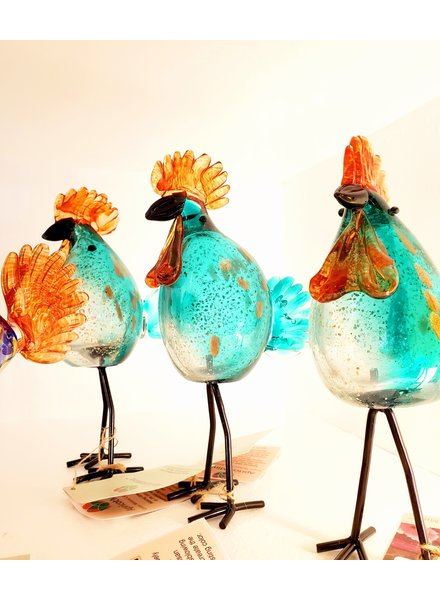 GARDEN ART & ACCESSORIES GLASS ROOSTER