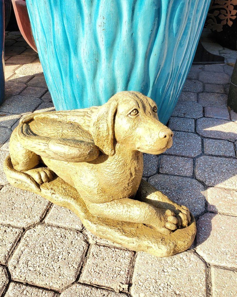 CAST STONE LAYDOWN GUARDIAN DOG