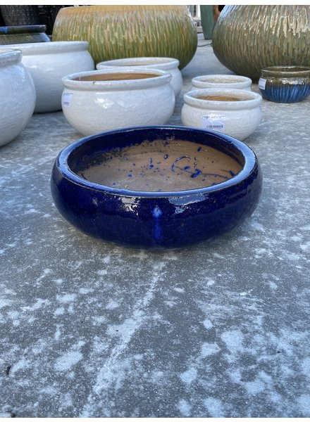 HIGH FIRED CERAMIC LOW BOWL PLANTER SM