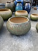 HIGH FIRED CERAMIC CARVED LOW BOWL PLANTER MD