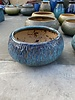 HIGH FIRED CERAMIC CARVED LOW BOWL PLANTER LG