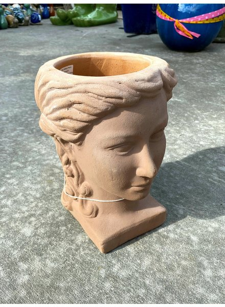 HIGH FIRED CERAMIC LADY HEAD PLANTER