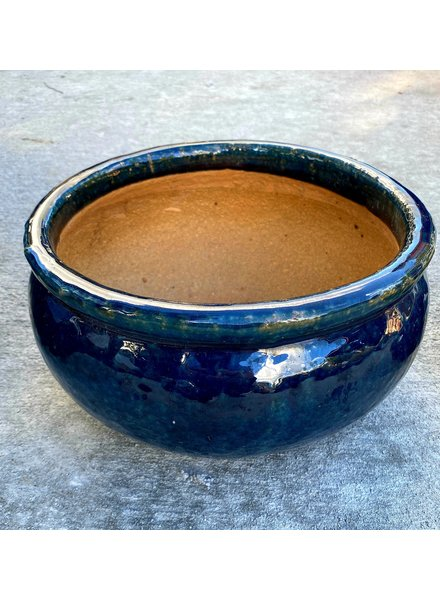 HIGH FIRED CERAMIC LOW BELLY PLANTER SM
