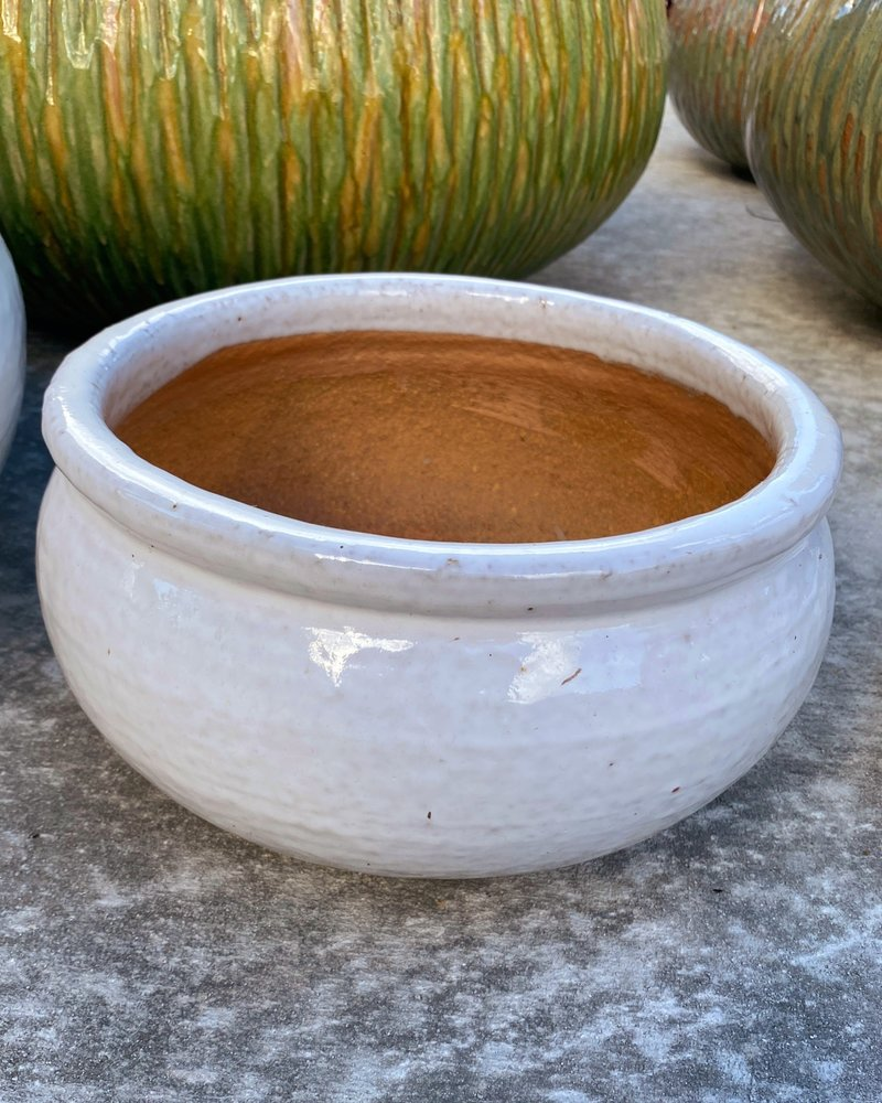 HIGH FIRED CERAMIC LOW BELLY PLANTER MD