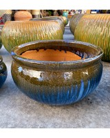 HIGH FIRED CERAMIC LOW BELLY PLANTER LG
