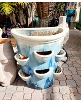 HIGH FIRED CERAMIC WALL POT WITH POCKETS