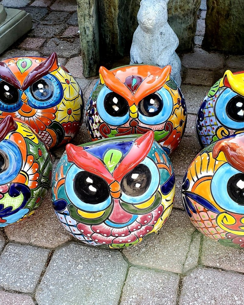 HIGH FIRED CERAMIC ROUND OWL PLANTER