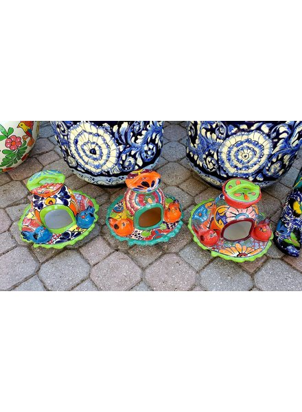 HIGH FIRED CERAMIC TALAVERA BIRD FEEDER