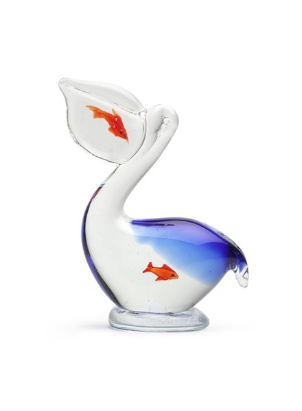 SCULPTURE GLASS PELICAN WITH FISH