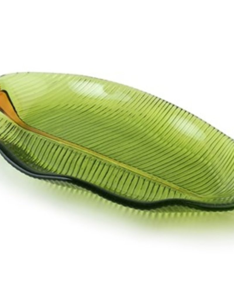 SCULPTURE GLASS BANANA LEAF PLATE