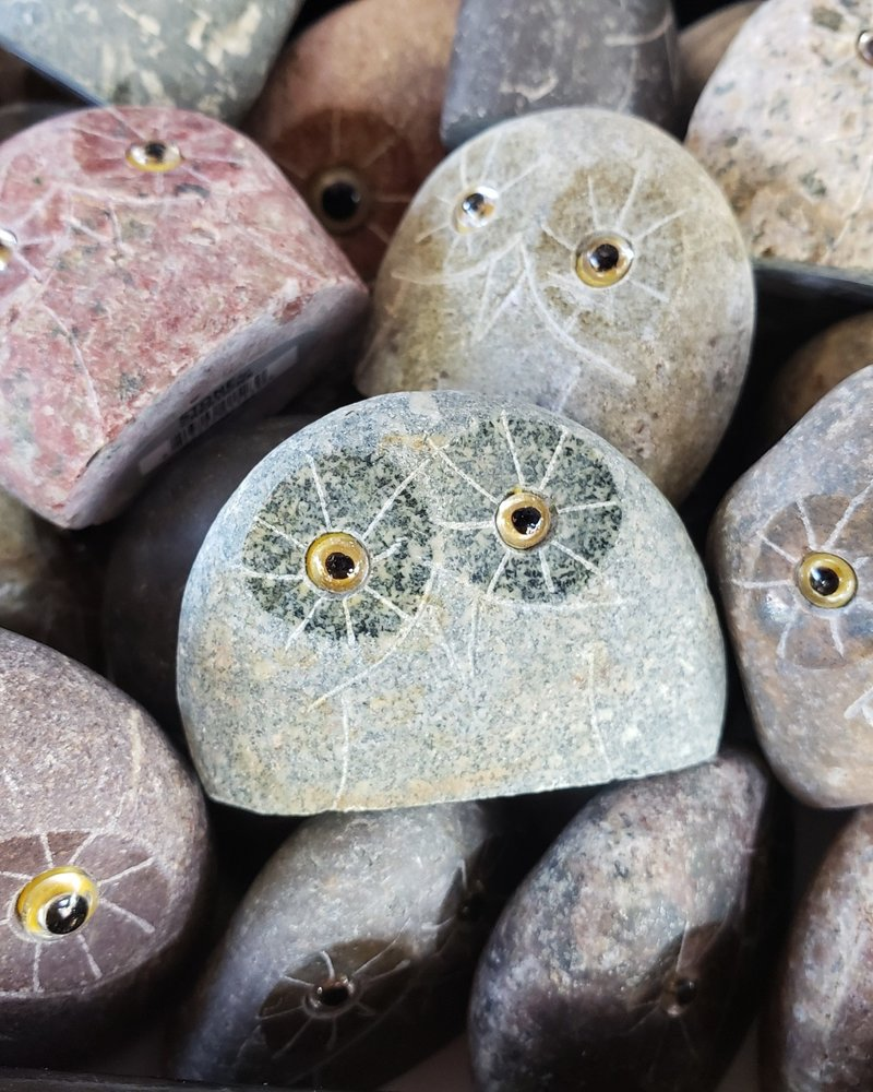 """1"""" CARVED STONE OWL"""
