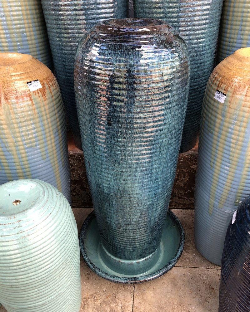 HIGH FIRED CERAMIC XL TALL RIPPLE FOUNTAIN COMPLETE