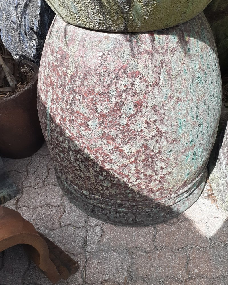 HIGH FIRED CERAMIC LAVA COIN PLANTER XL