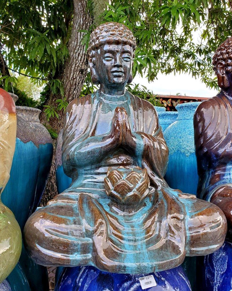 HIGH FIRED CERAMIC BUDDHA STATUE LG